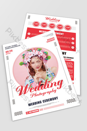 Fashion poster style wedding photo studio flyer series Template CDR