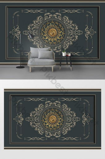 pared de fondo de tv de encaje de plata caliente de estilo europeo tallada Decoración y modelo Modelo PSD