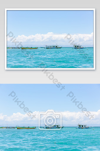 Serene and beautiful photos of spider boats off the coast Lombok, Indonesia Photo Template JPG
