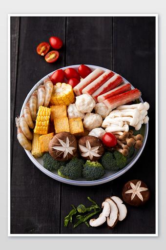 bahan makanan Cina hot pot makanan laut gambar fotografi poster piring sayur Fotografi Templat JPG