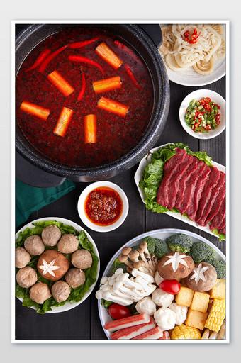 bahan makanan Cina hot pot peta fotografi poster piring buah dan sayuran Fotografi Templat JPG