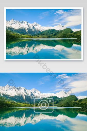 西藏湖雪山然武 攝影圖 模板 JPG