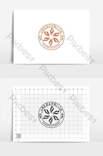 escuela de moda naranja emblema logo vi diseño Modelo CDR