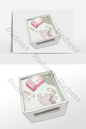 手繪污染環境垃圾煙盒煙頭圖 元素 模板 PSD