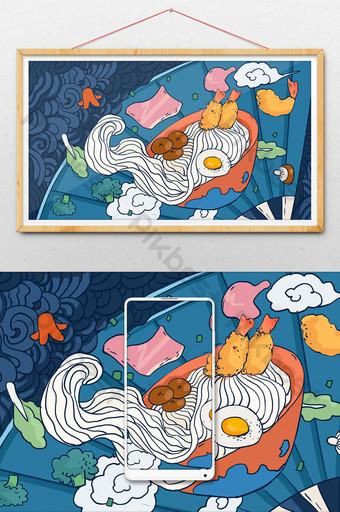 Chinese style gourmet seafood ramen illustration Illustration Template PSD
