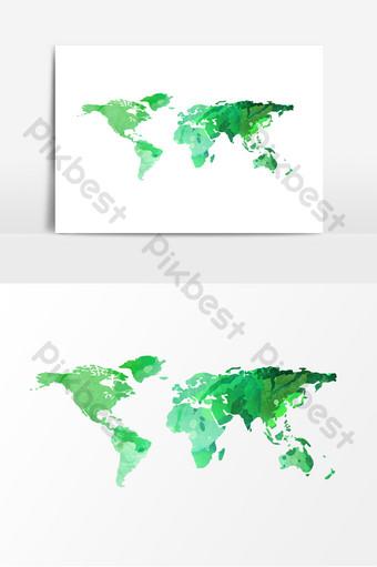 녹색 세계 인구의 날지도 요소 일러스트 템플릿 PSD