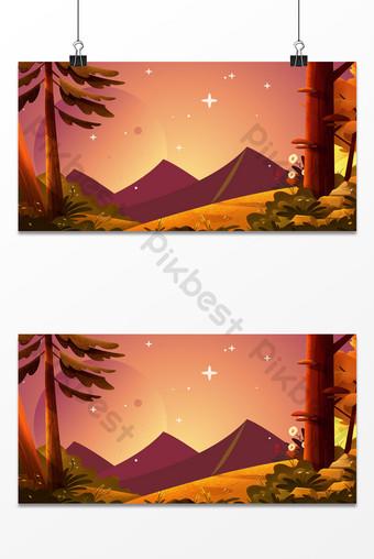 Fond de paysage d'arbres de forêt étoilée ciel fantastique Fond Modèle PSD