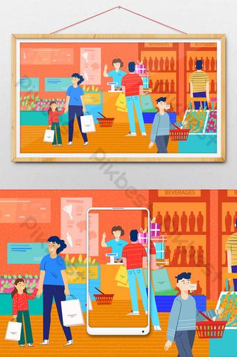 actividad de reducción completa promoción de compras de supermercado banner de comercio electrónico ilustración de cuenta pública Ilustración Modelo AI