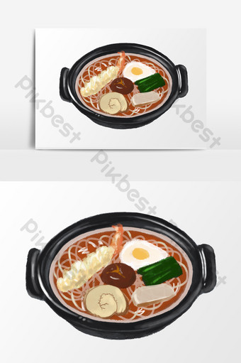 Hand drawn cartoon small fresh hand account seafood ramen poached egg shrimp PNG Images Template PSD