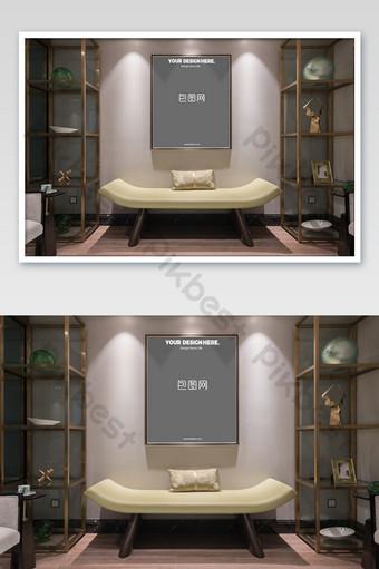 典雅低調別墅豪華金框牆畫臥室壁畫海報樣機 模板 PSD