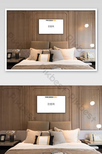 時尚溫馨主臥室壁畫壁畫海報樣機 模板 PSD