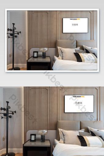 時尚簡約溫馨臥室壁畫壁畫海報樣機 模板 PSD