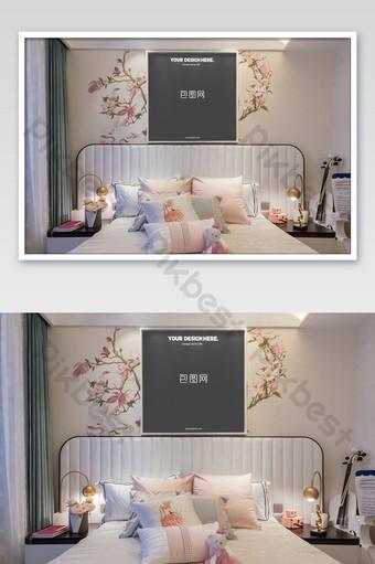 溫馨粉色浪漫公主壁畫白色框架臥室壁畫海報樣機 模板 PSD