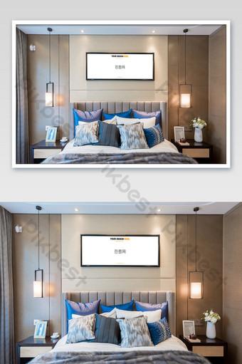 غرفة نوم أنيقة ورائعة جدار اللوحة إطار أسود جدارية ملصق بالحجم الطبيعي قالب PSD