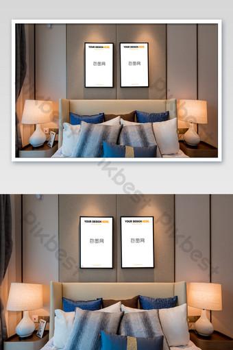典雅中國風臥室簡約壁畫壁畫海報樣機 模板 PSD