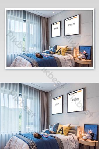 典雅舒適兒童房黑框壁畫臥室壁畫海報樣機 模板 PSD