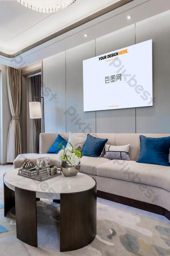 輕奢客廳無框壁畫壁畫海報樣機 模板 PSD