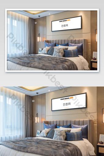رائعة غرفة نوم الفولاذ المقاوم للصدأ إطار جدار اللوحة الجدارية ملصق بالحجم الطبيعي قالب PSD