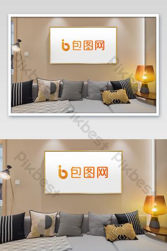دافئ لون جديد النمط الصيني ضوء غرفة المعيشة الفاخرة المنزل إطار الصورة ملصق بالحجم الطبيعي قالب PSD