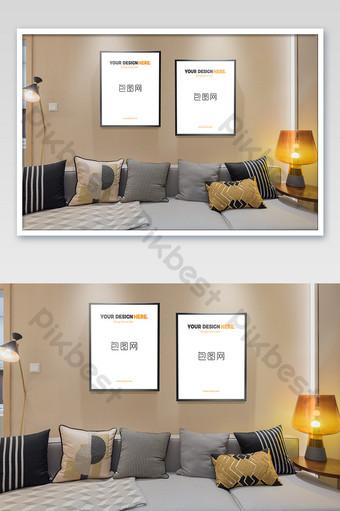دافئ اللون الجديد النمط الصيني ضوء غرفة المعيشة الفاخرة المنزل الجدار شنقا إطار الصورة ملصق بالحجم الطبيعي قالب PSD