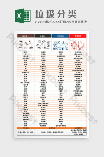 圖形和文字組合垃圾分類excel模板 Excel模板 模板 XLS