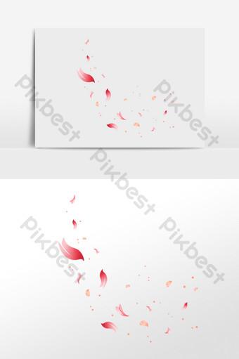 Vẽ tay bay và rơi cánh hoa hồng minh họa Công cụ đồ họa Bản mẫu PSD