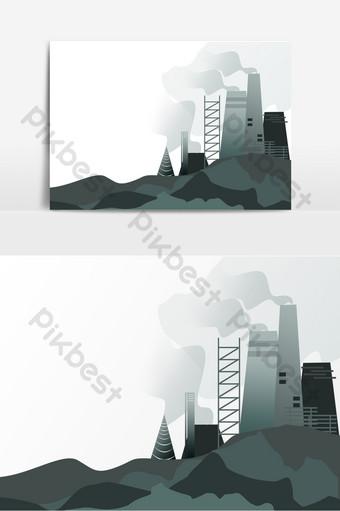 環境污染工廠空氣元素 元素 模板 PSD