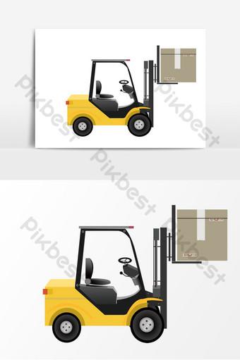 貨運物流卡車叉車運輸要素 元素 模板 PSD