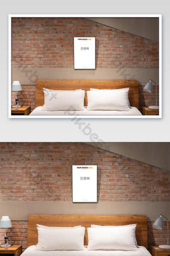 北歐復古黑框臥室壁畫壁畫海報樣機 模板 PSD