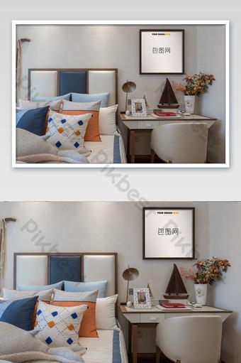 高端豪華房地產臥室木製框架壁畫壁畫海報樣機 模板 PSD