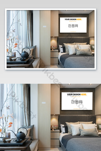 典雅新中式房地產樣板房黑框臥室壁畫海報樣機 模板 PSD