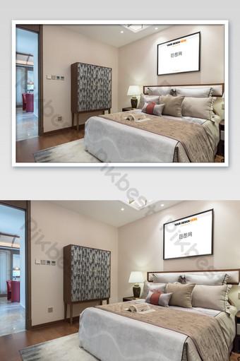 典雅高貴的中國黑框臥室壁畫壁畫海報樣機 模板 PSD