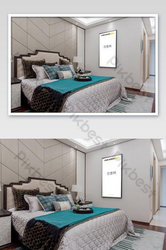 典雅中國風銀框臥室壁畫壁畫海報樣機 模板 PSD