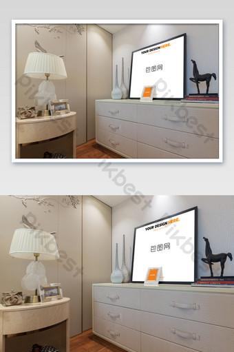 輕豪華黑框臥室壁畫壁畫海報樣機 模板 PSD