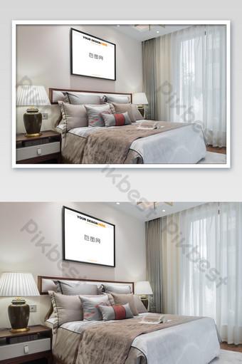 典雅寧靜的中式黑框臥室壁畫壁畫海報樣機 模板 PSD