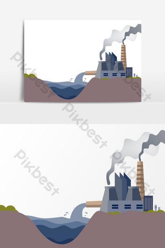 工廠污染工業廢水排放廢氣元素 元素 模板 PSD