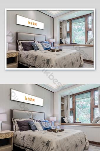 رائعة جديدة النمط الصيني غرفة نوم الذهب الإطار اللوحة الجدار ملصق بالحجم الطبيعي قالب PSD