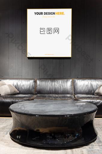 الحد الأدنى النمط الصناعي غرفة المعيشة الذهب الإطار جدار اللوحة الجدارية ملصق بالحجم الطبيعي قالب PSD