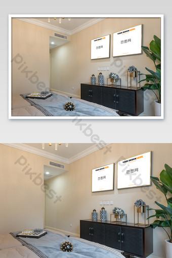 簡約典雅中式金框畫臥室壁畫牆海報樣機 模板 PSD
