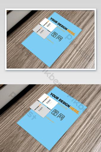 Tableau de grain de bois A3 papier plus maquette d'affichage avant et arrière de carte de visite Modèle PSD