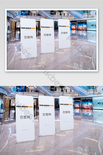 Large shopping mall advertising poster roll up standee mockup Template PSD