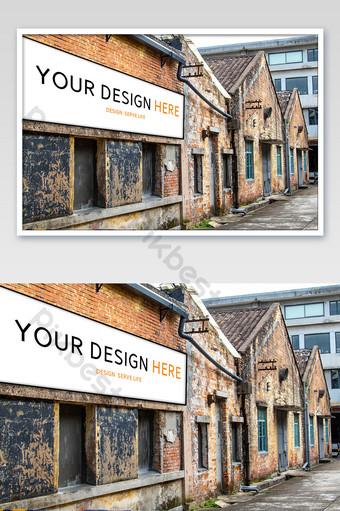 قوانغتشو الفن الإبداعي مصنع الطوب الأحمر منزل ملصق بالحجم الطبيعي قالب PSD