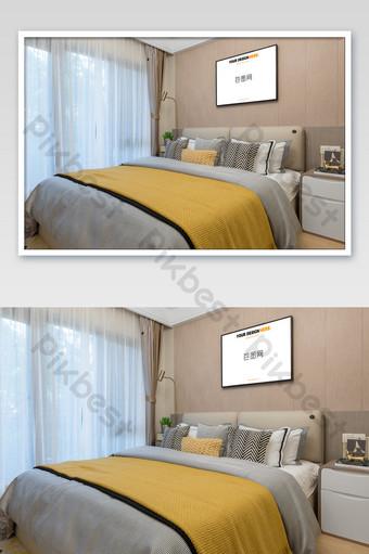 清新典雅的臥室黑框壁畫壁畫海報樣機 模板 PSD
