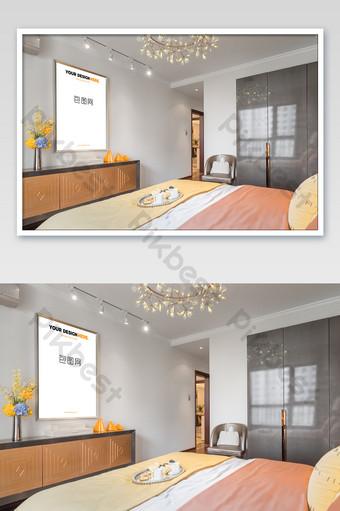 رائعة ضوء الذهب إطار اللوحة غرفة نوم جدارية ملصق بالحجم الطبيعي قالب PSD