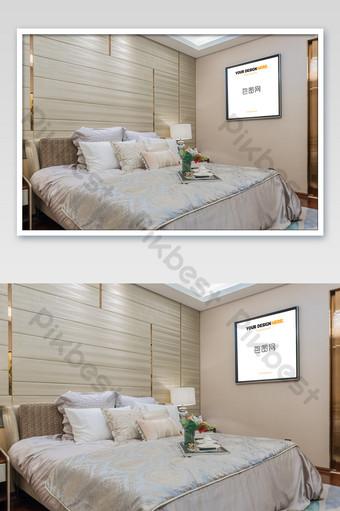 中國風輕奢黑框畫臥室壁畫海報樣機 模板 PSD