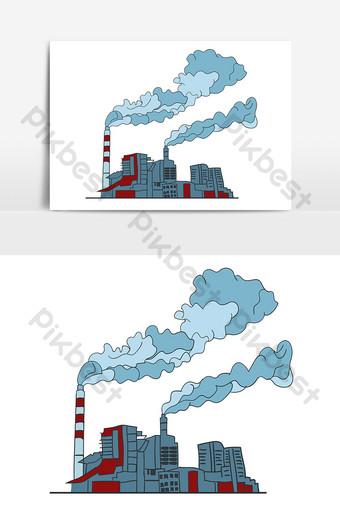 環境污染工廠空氣元素矢量ai 元素 模板 AI