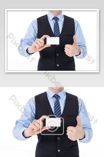 Affichage de la carte de visite masculine du service client de cols blancs La photographie Modèle JPG
