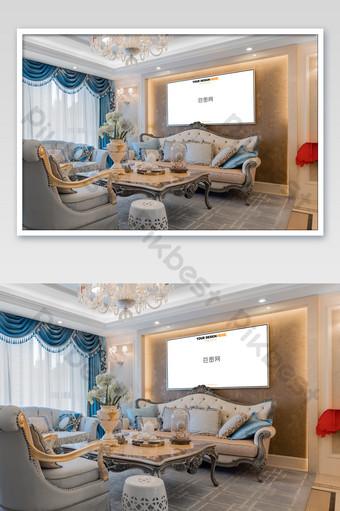 النمط الأوروبي غرفة المعيشة الرائعة الإطار الفضي اللوحة جدار جدارية ملصق بالحجم الطبيعي قالب PSD