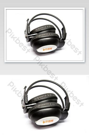 白色無線耳機品牌徽標徽標樣機 模板 PSD