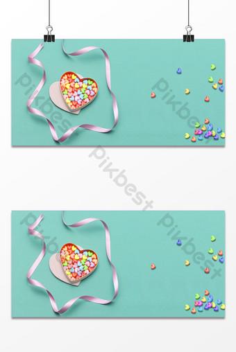 الأزرق الطازج على شكل قلب هدية مربع الحلوى خلفية الشريط خلفيات قالب PSD